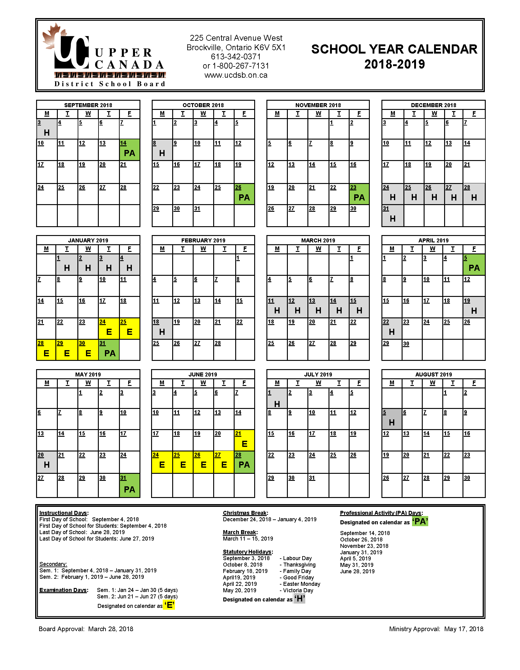2019 School Year Calendar With 2018 Upper Canada District Board
