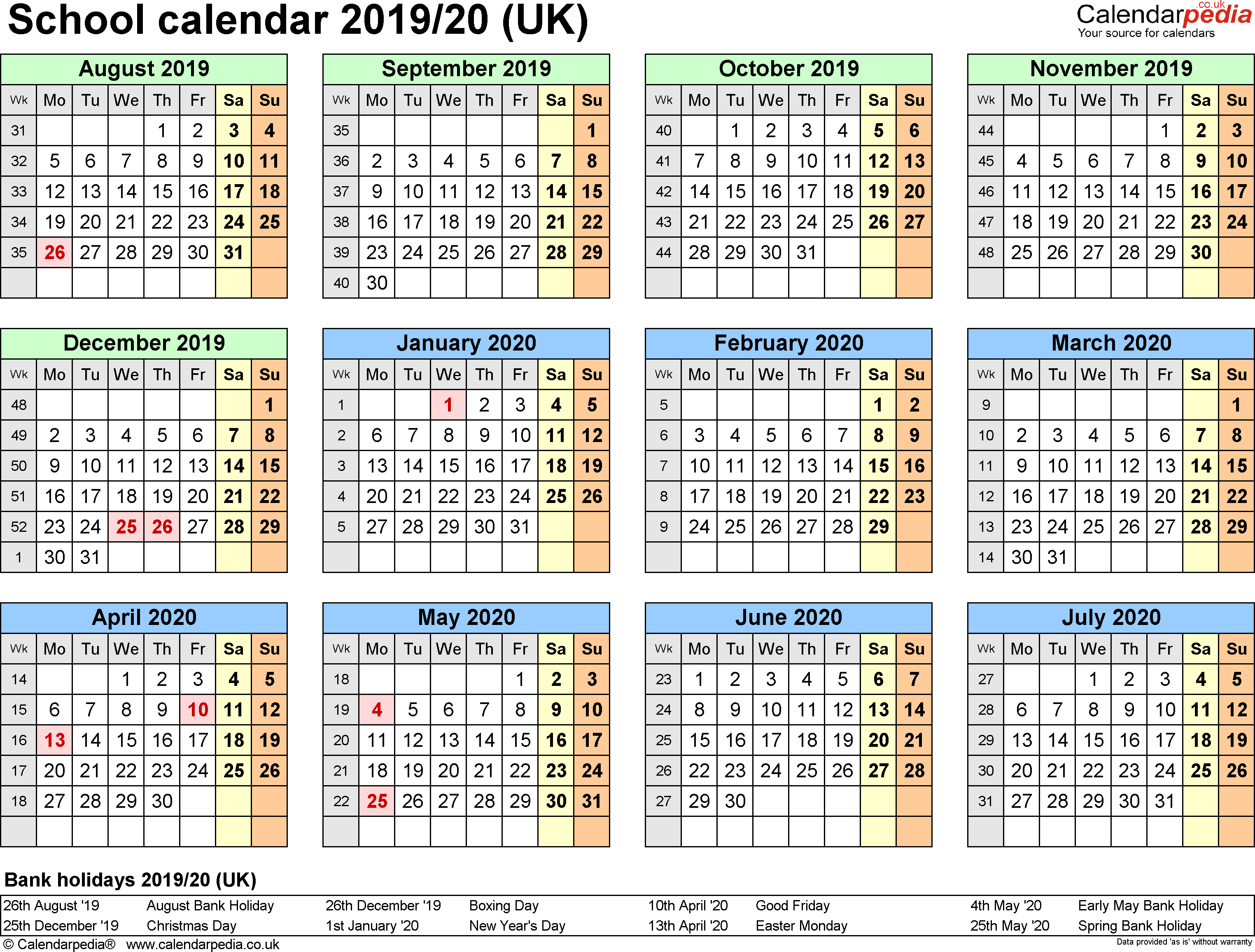 2019 School Year Calendar With Holiday UK And Dates Public Holidays
