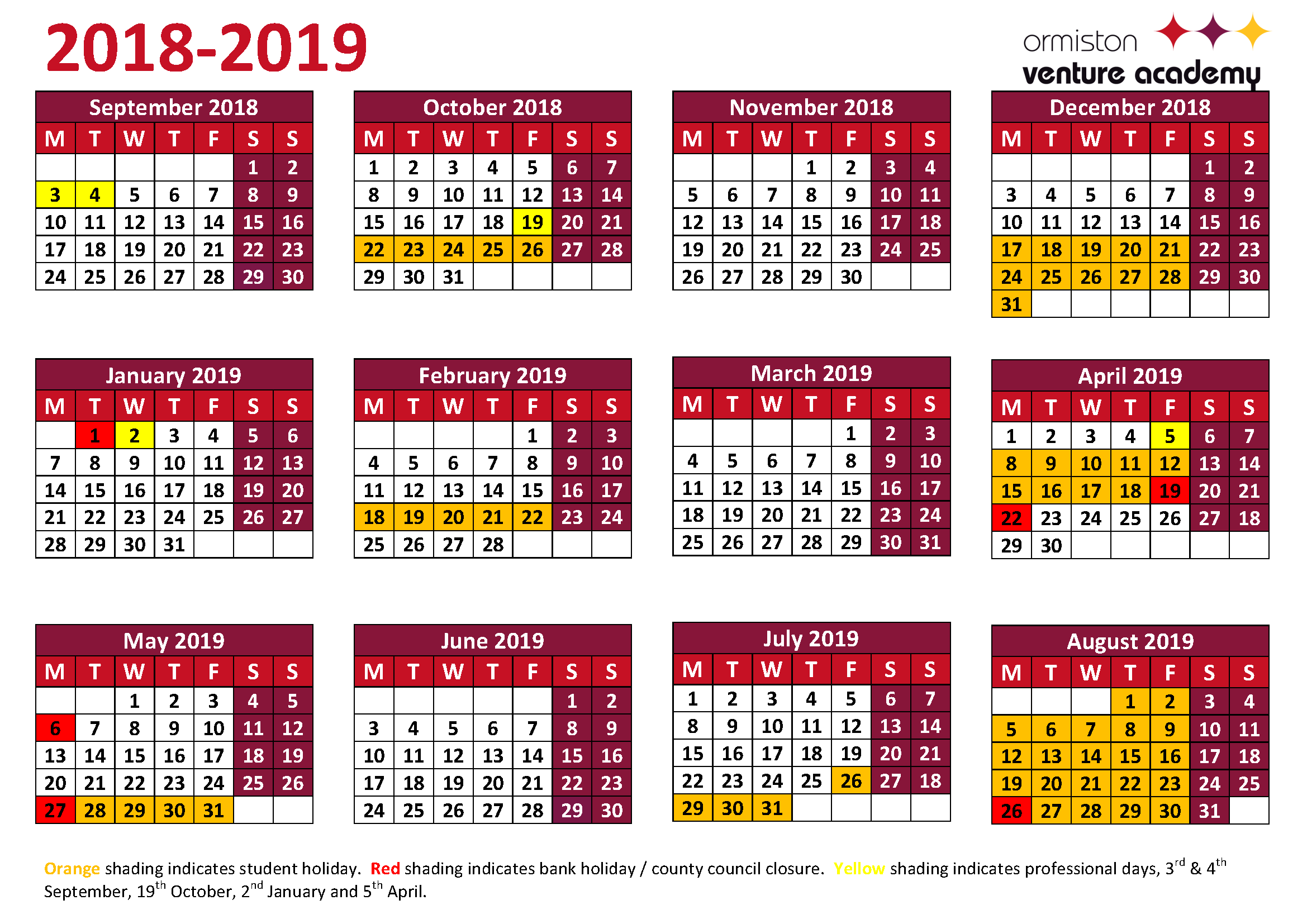 2019 School Year Calendar With Term Dates Ormiston Venture Academy