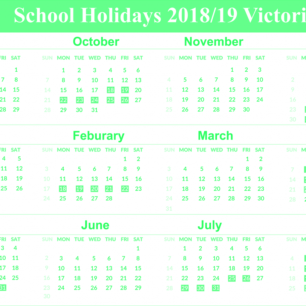 2019 Vic School Year Calendar With Download Free Holidays Victoria Templates