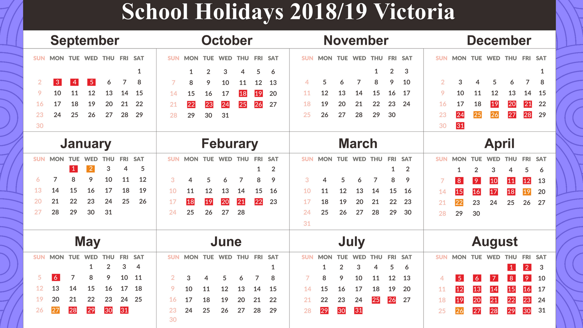 2019 Vic School Year Calendar With Download Holidays Victoria Templates August
