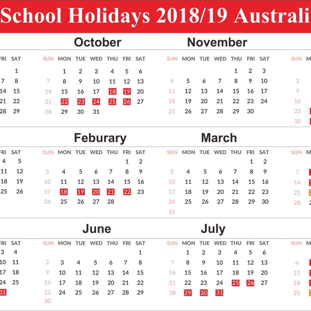 2019 Vic School Year Calendar With Free Australia Holidays Templates December