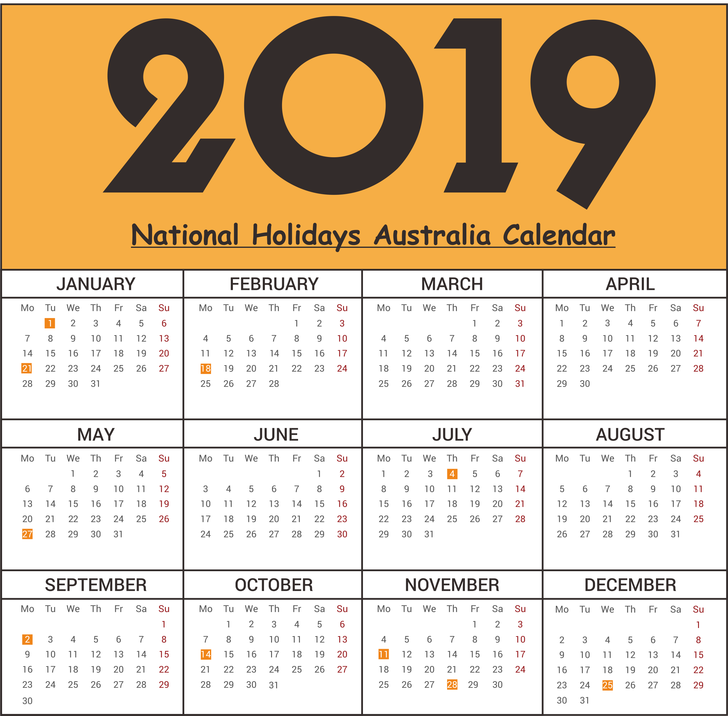 2019 Vic School Year Calendar With Printable Free Australia National Holidays Templates