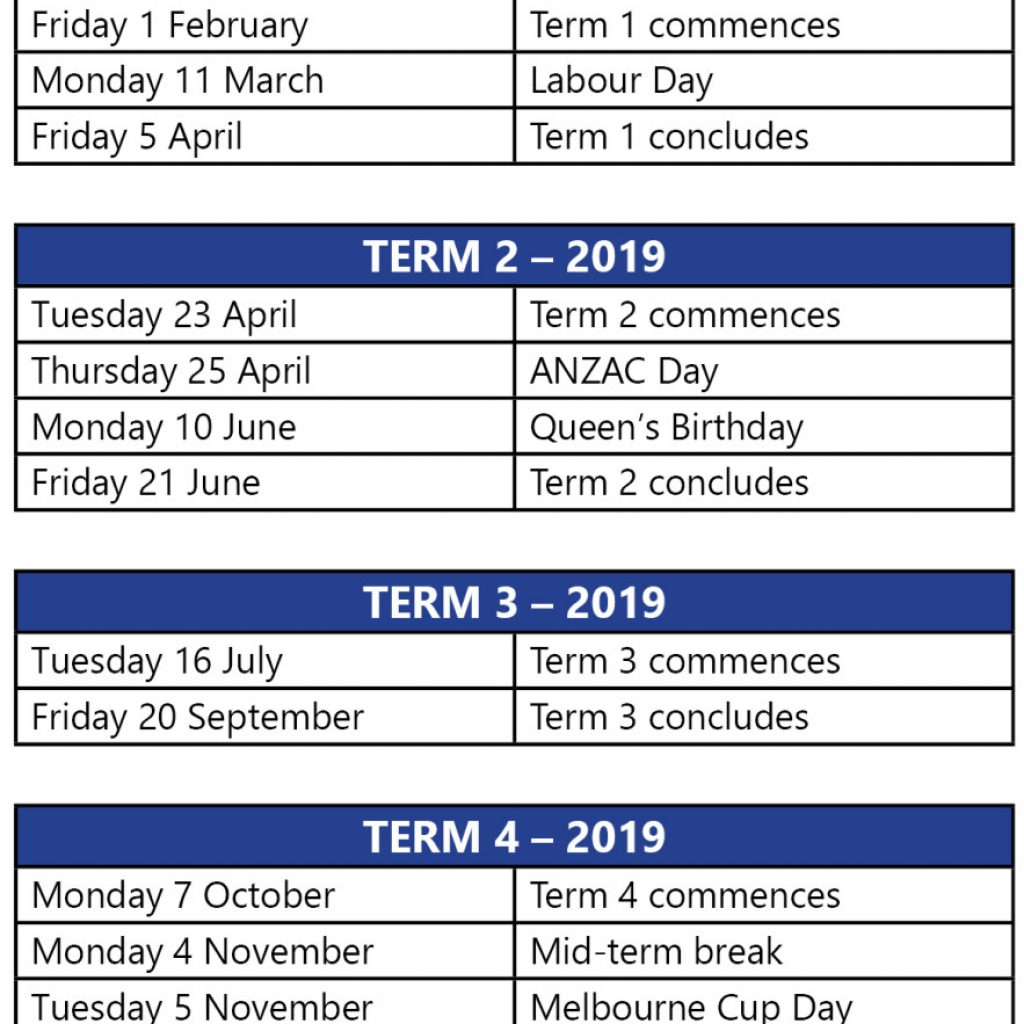 2019 Vic School Year Calendar With Term Dates