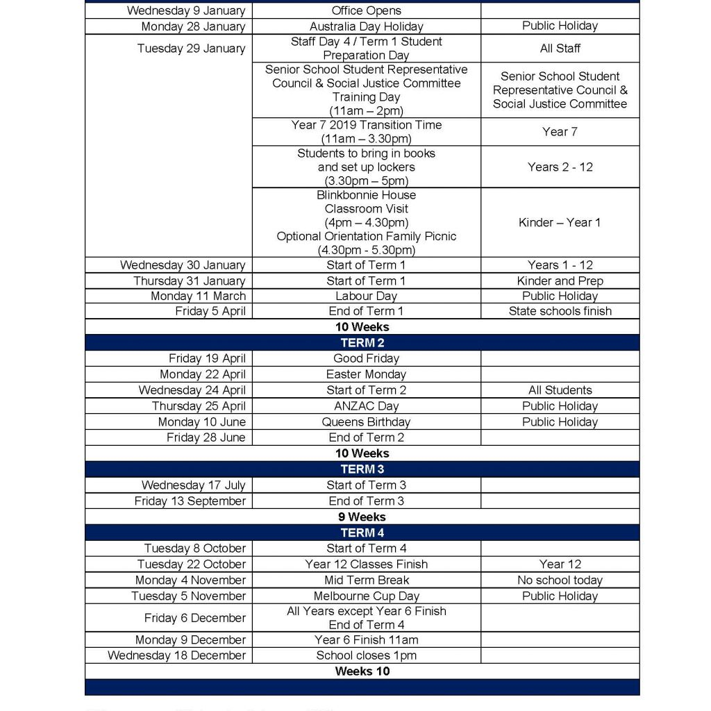 2019 Vic School Year Calendar With Term Dates Lowther Hall