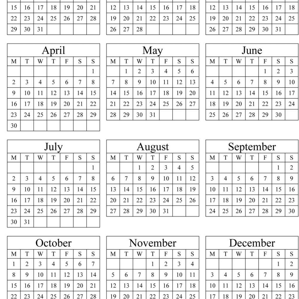 2019 Whole Year Calendar With Annual 2018 Portrait Printable 2017