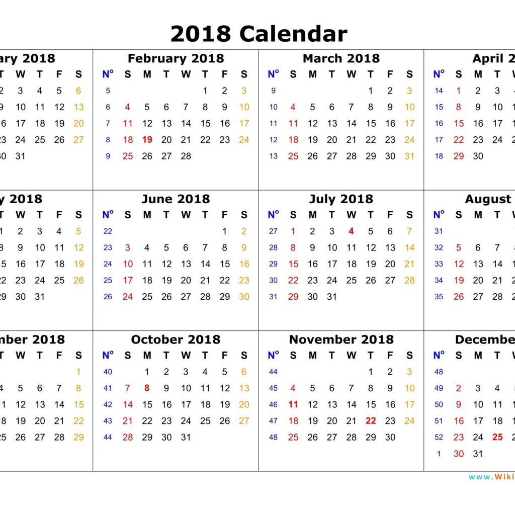 2019 Whole Year Calendar With Annual 2018 Portrait Printable 2017 By