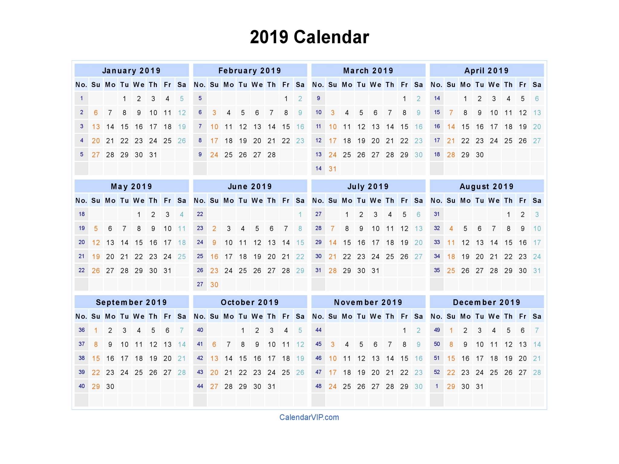 2019 Whole Year Calendar With Blank Printable Template In PDF Word Excel