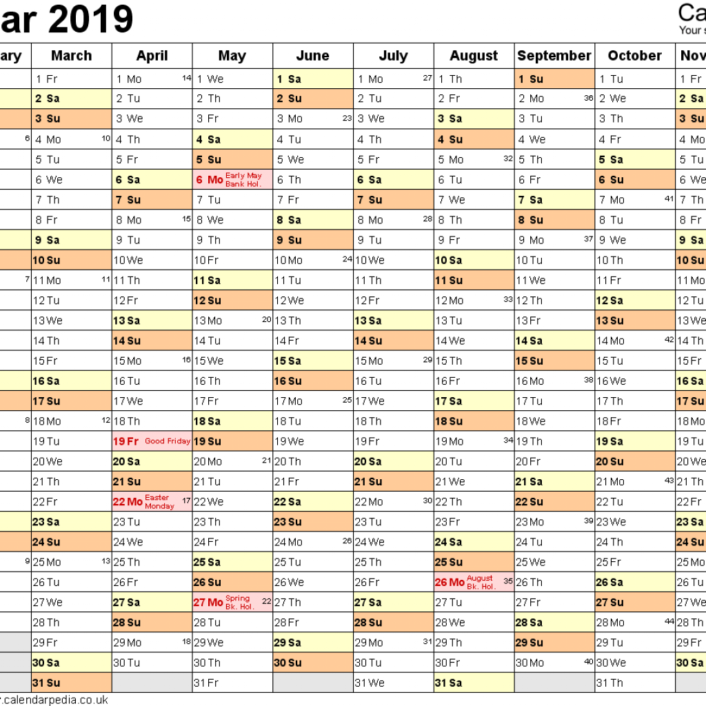 2019 Whole Year Calendar With Excel UK 16 Printable Templates Xlsx Free