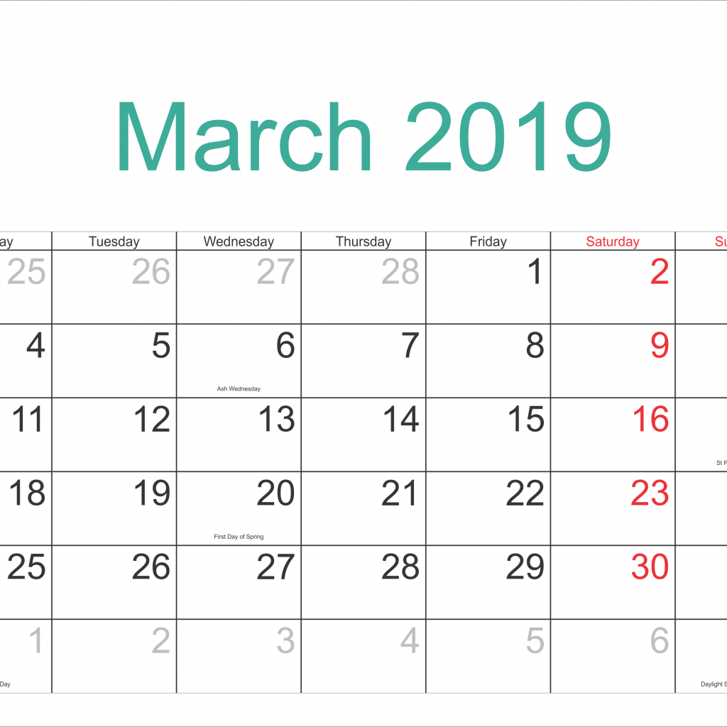 2019 Whole Year Calendar With Get Free March Full Moon Download February