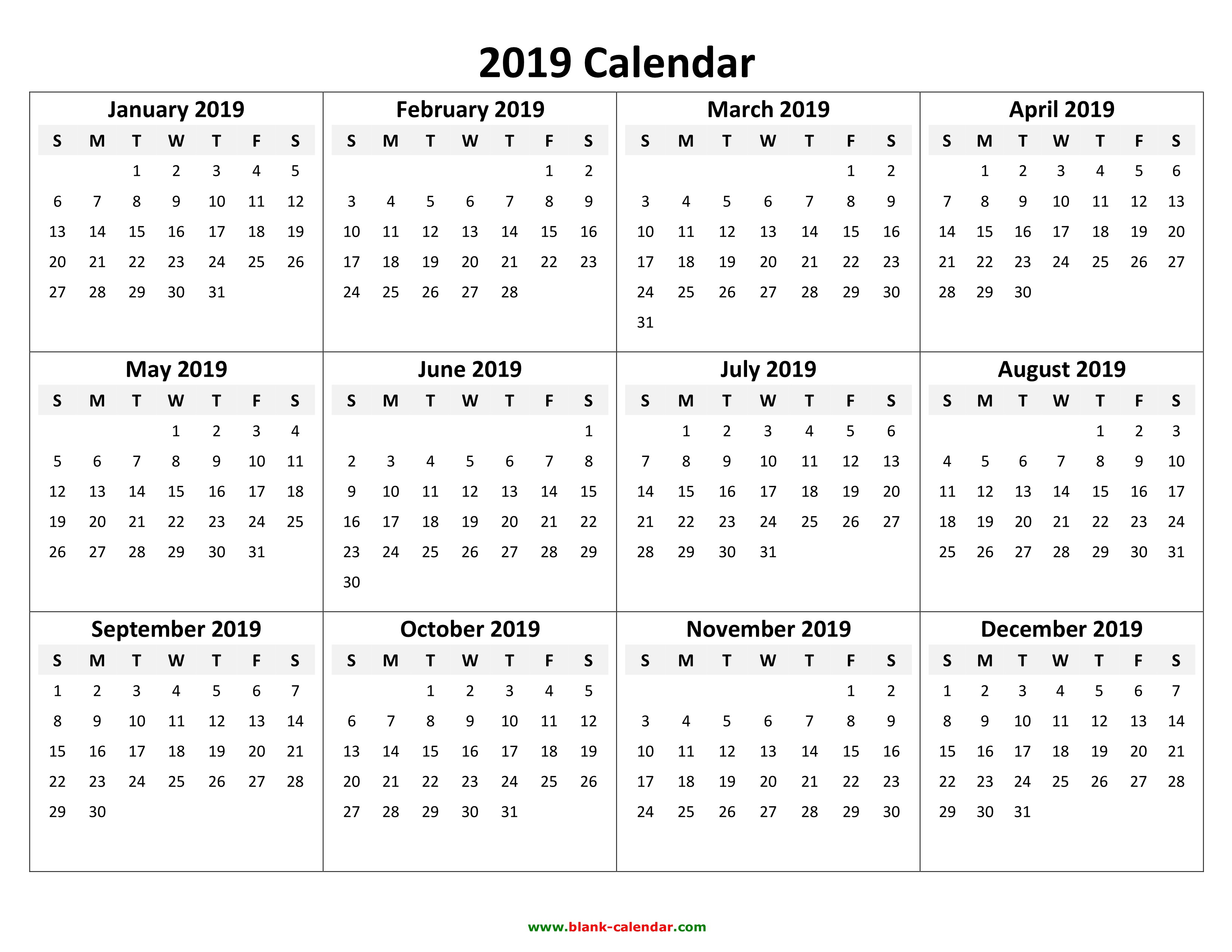 2019 Whole Year Calendar With Printable Yearly