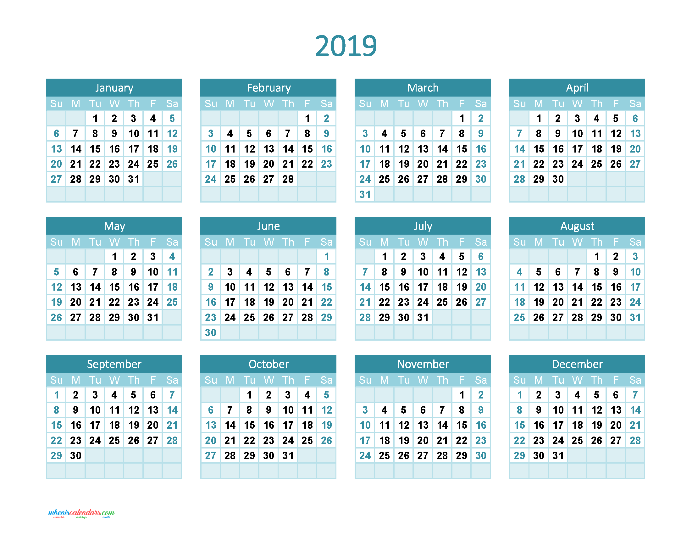 2019 Whole Year Calendar With Yearly Printable Full Theme