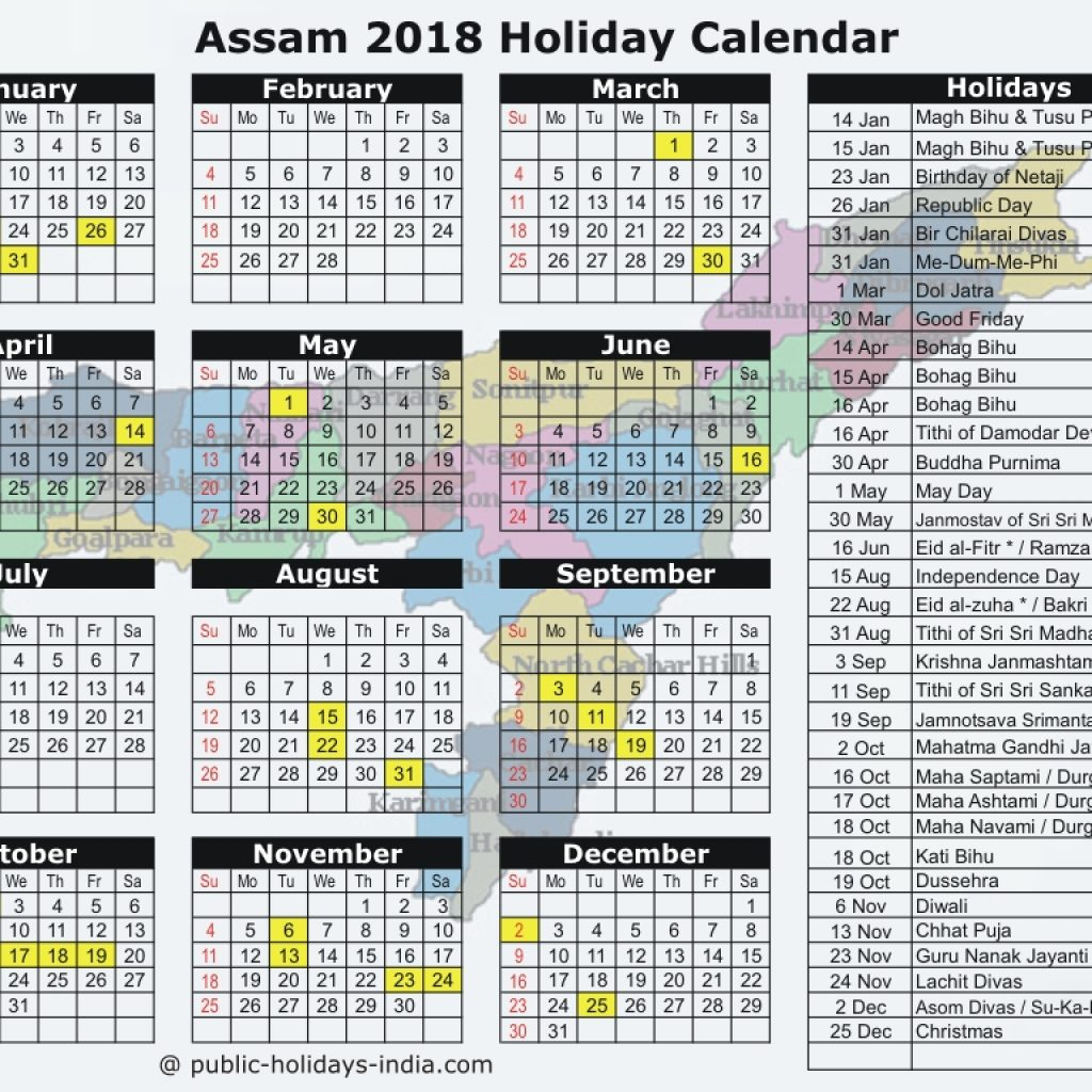 2019 Year Bengali Calendar With Assam Public Holiday 2018