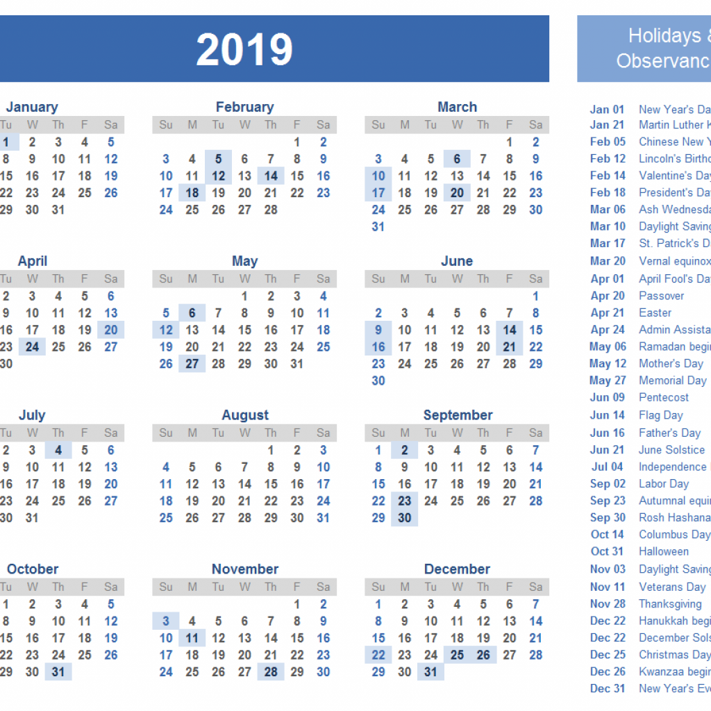 2019 Year Bengali Calendar With India Holiday Of Vacations
