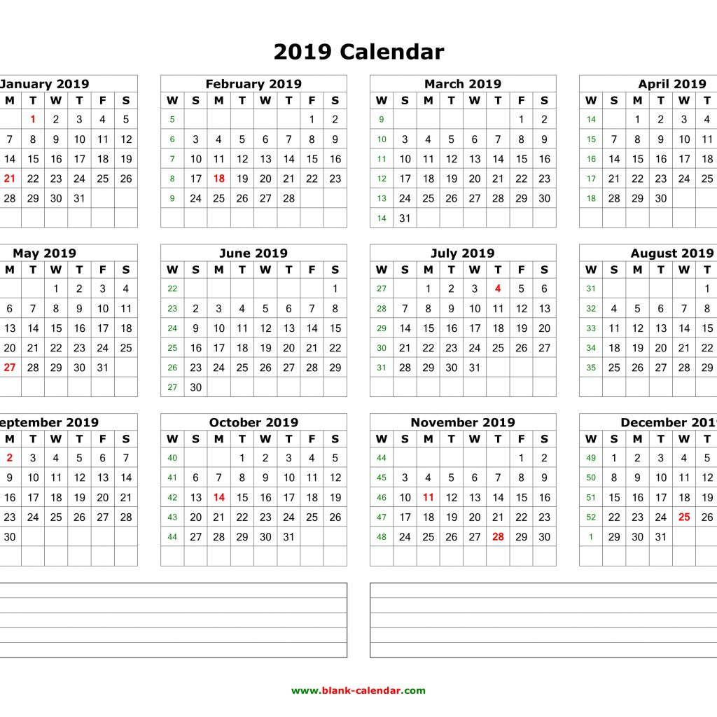 2019 Year Calendar By Month With Download Blank Space For Notes 12 Months On One