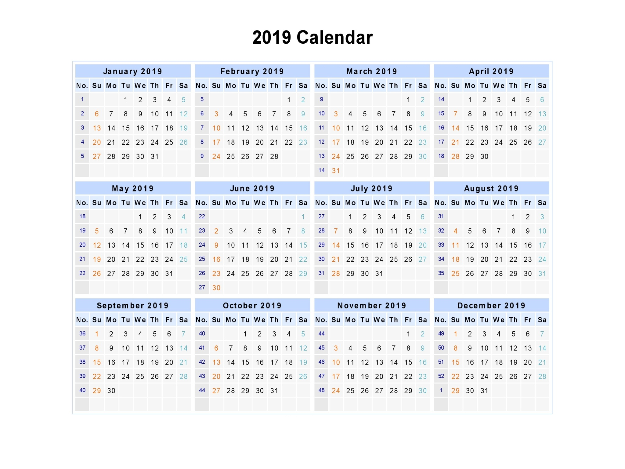 2019 Year Calendar By Month With Get Free Printable Template November 2018