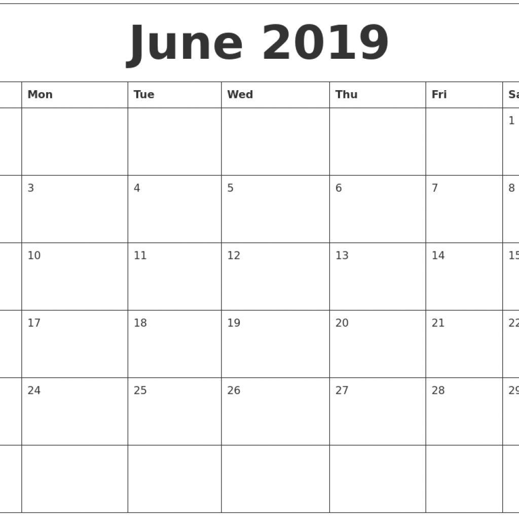 2019 Year Calendar By Month With June Blank Monthly Template