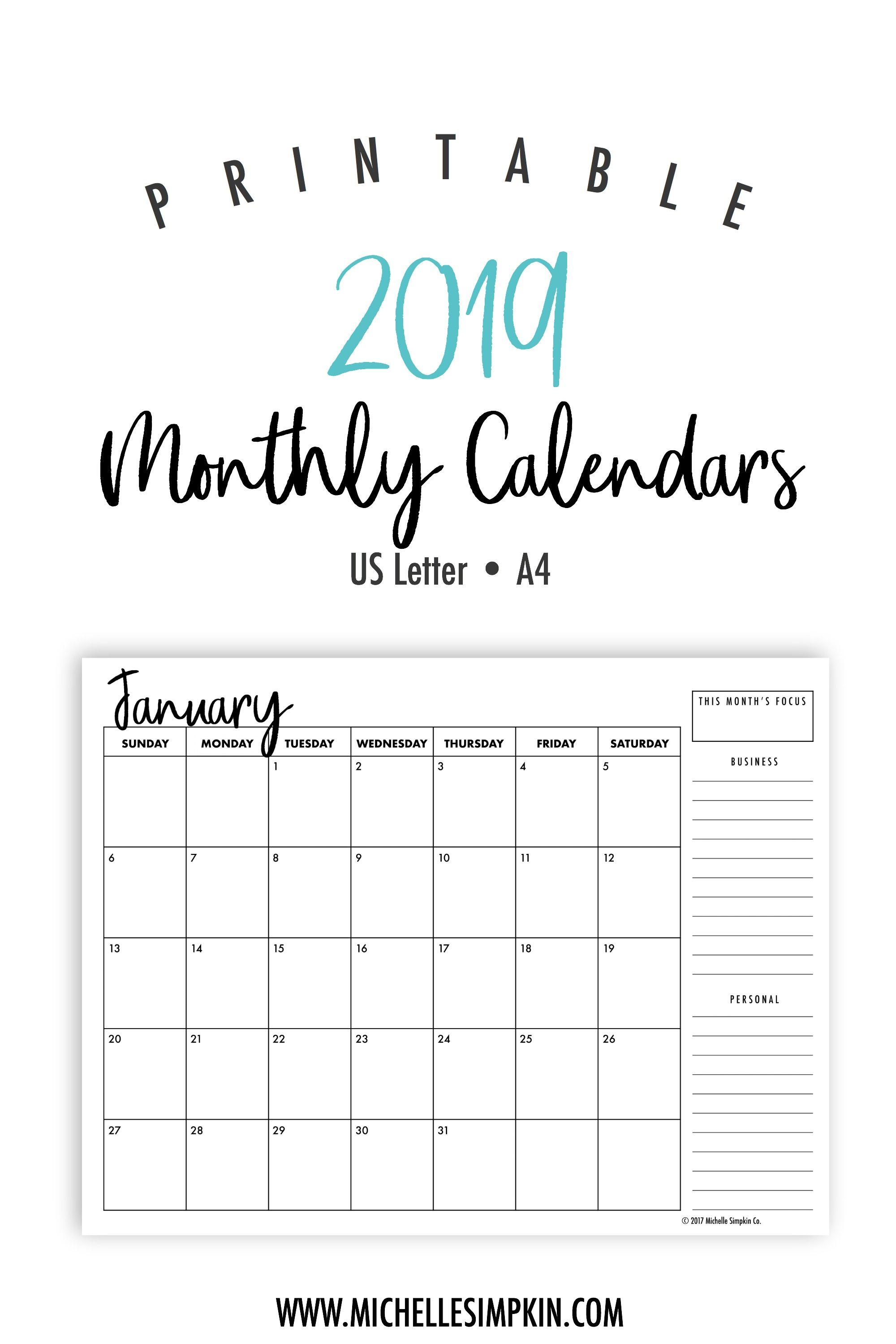 2019 Year Calendar By Month With Printable Monthly Calendars Landscape US Letter A4