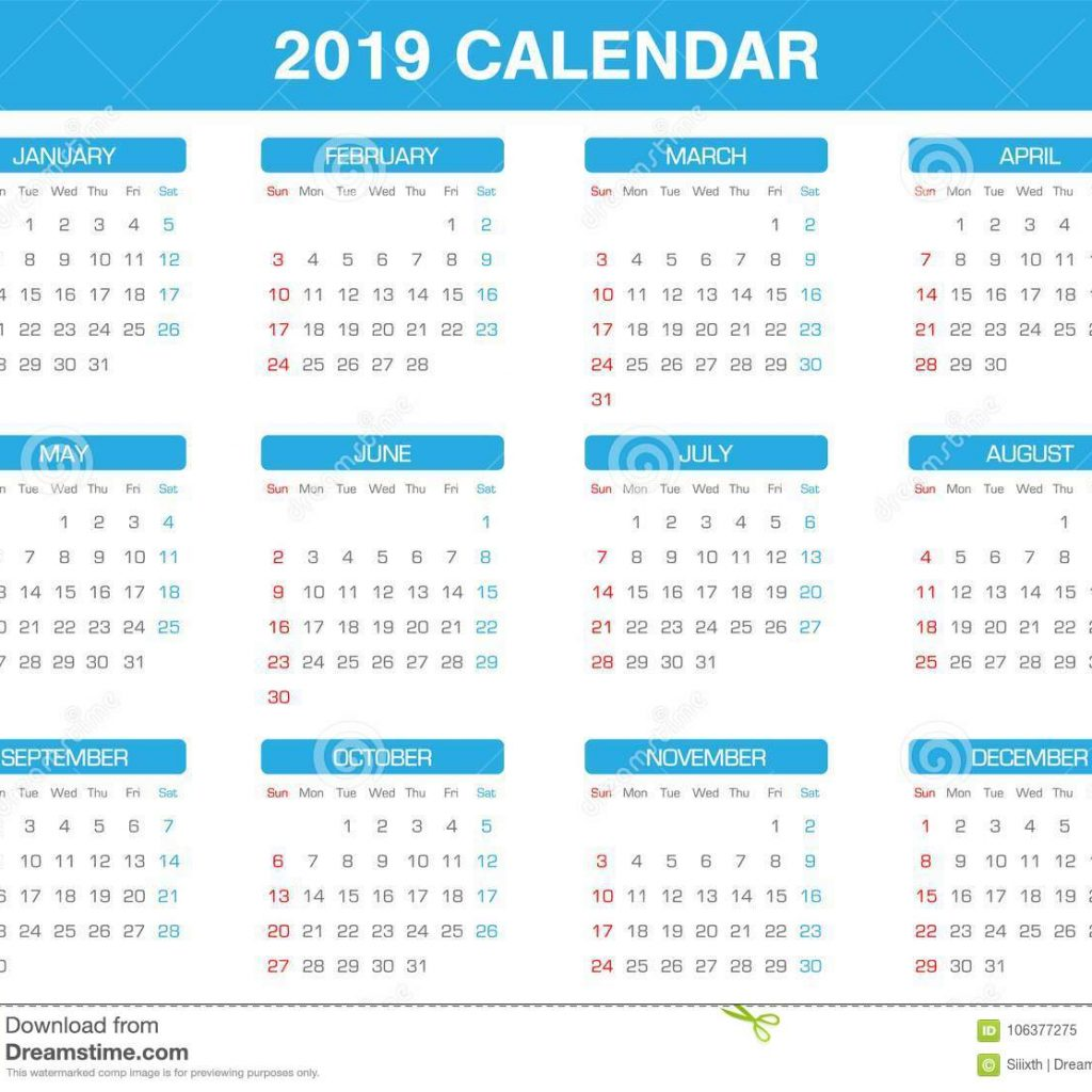 2019 Year Calendar By Month With Simple Set Of All Stock Vector