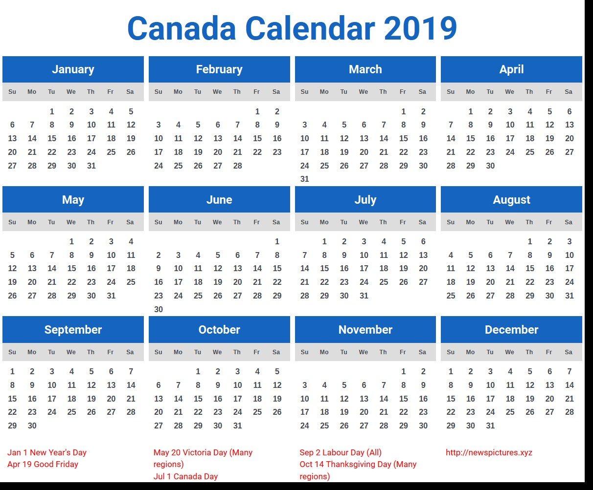 2019 Year Calendar Canada Printable With Coloring Pages For Kids