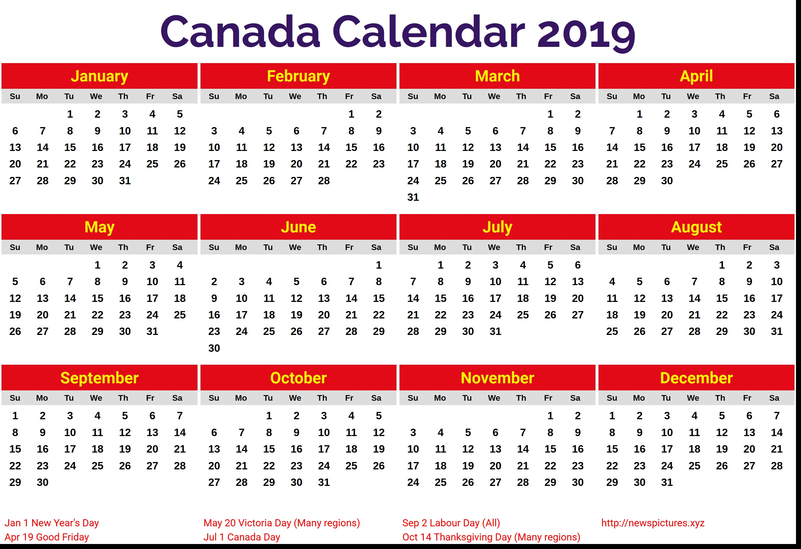 2019 Year Calendar Canada Printable With Free