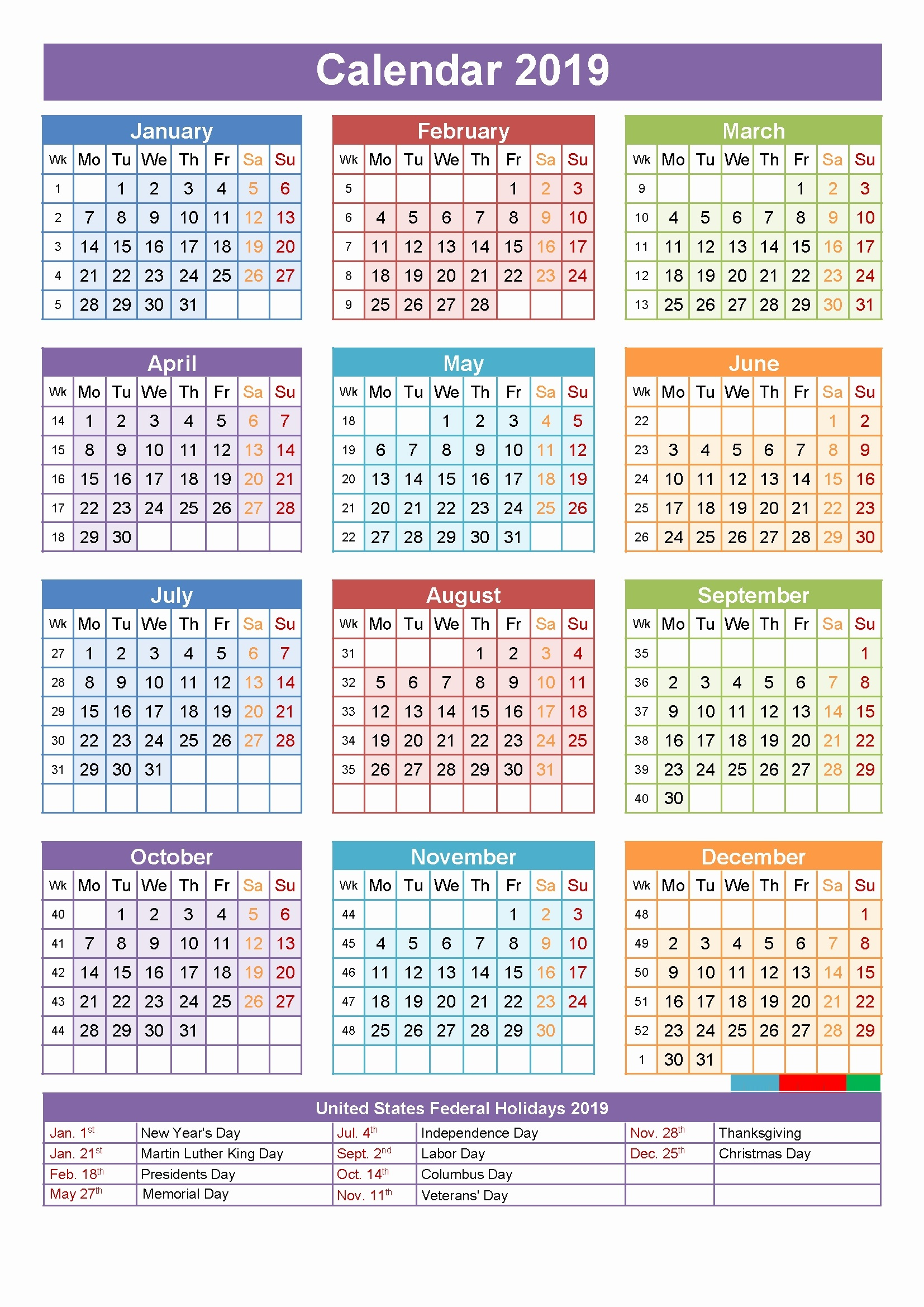 2019 Year Calendar Canada Printable With Yearly Template Holidays