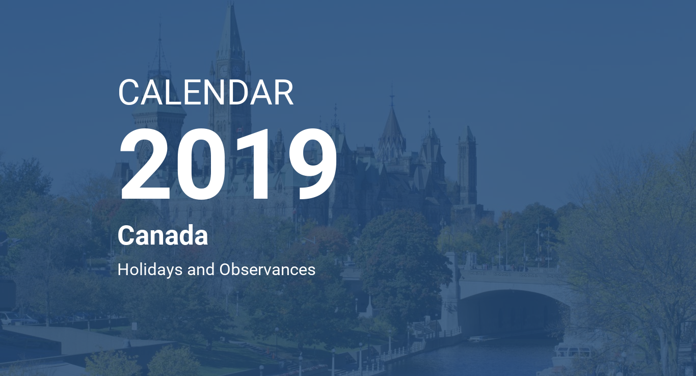 2019 Year Calendar Canada Printable With