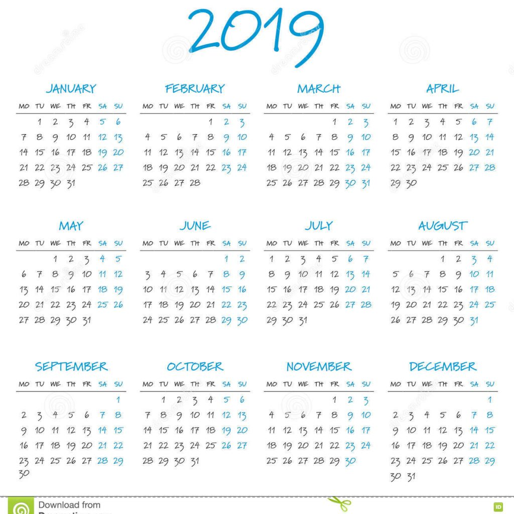 2019 Year Calendar Download With Simple Stock Vector Illustration Of Business