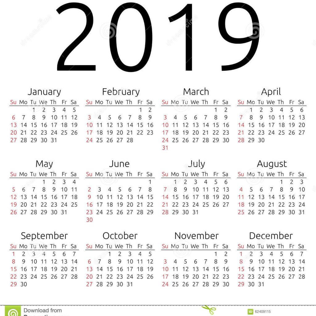 2019 Year Calendar Download With Vector Sunday Stock Illustration Of Wall