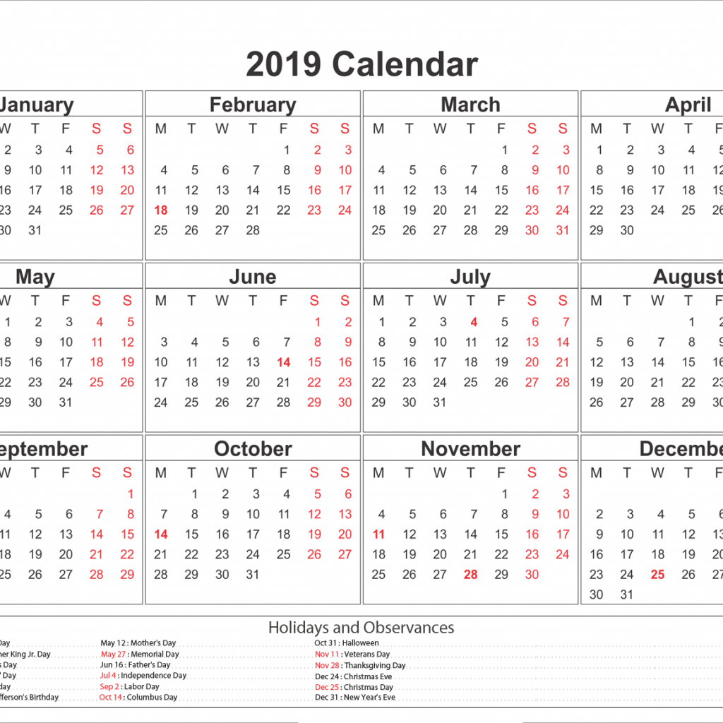 2019 Year Calendar Excel With Blank Printable Holidays Printableshelter