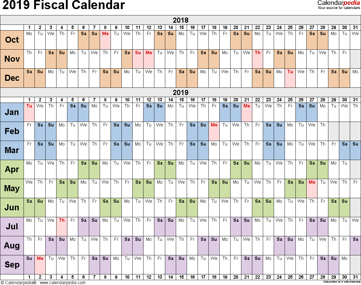 2019 Year Calendar Excel With Fiscal Calendars As Free Printable Templates