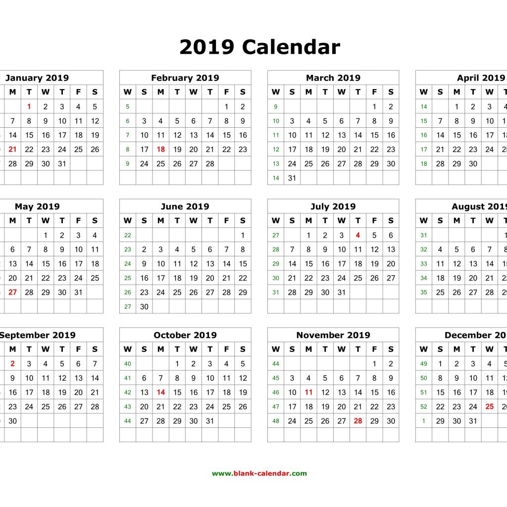 2019 Year Calendar One Page With Download Blank 12 Months On Horizontal