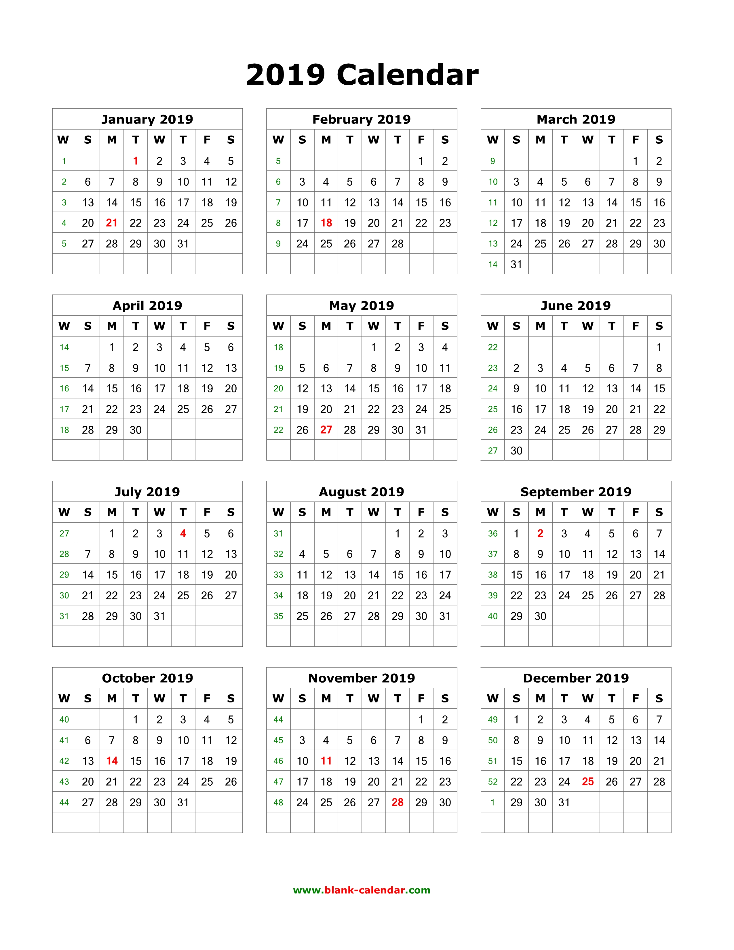 2019 Year Calendar One Page With Download Blank 12 Months On Vertical