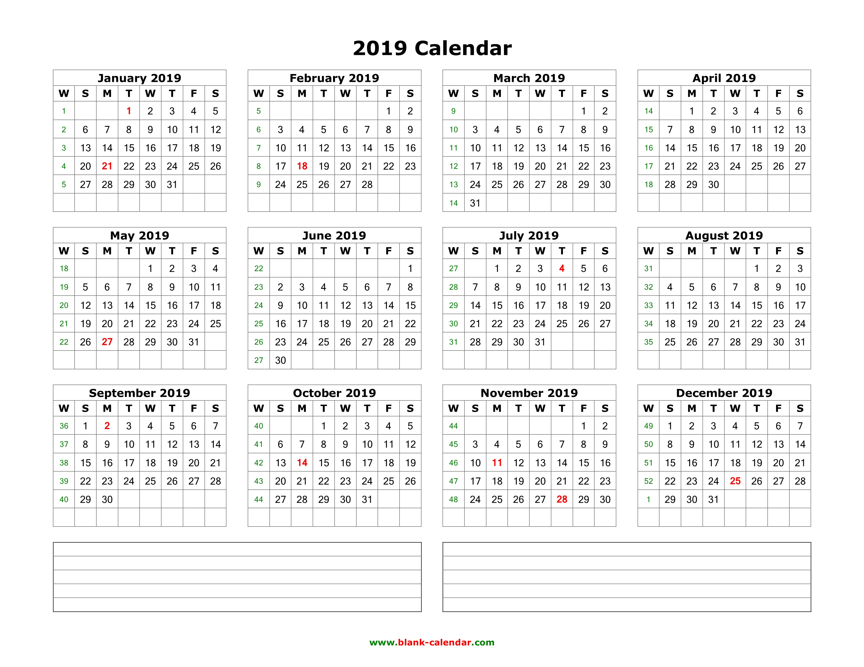 2019 Year Calendar One Page With Download Blank Space For Notes 12 Months On