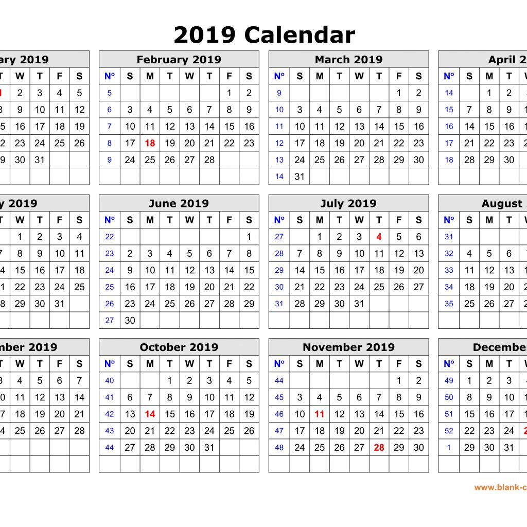 2019 Year Calendar One Page With Free Download Printable In Clean Design