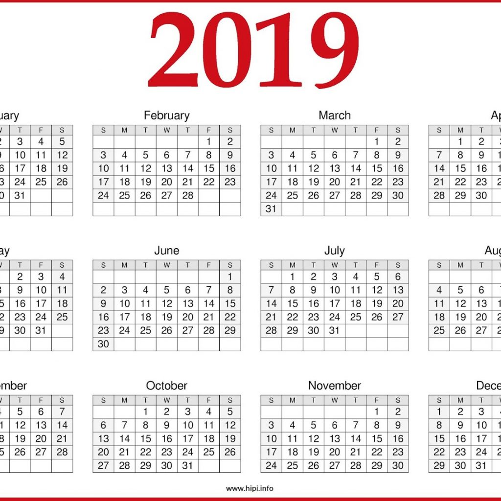2019 Year Calendar One Page With Free Printable March