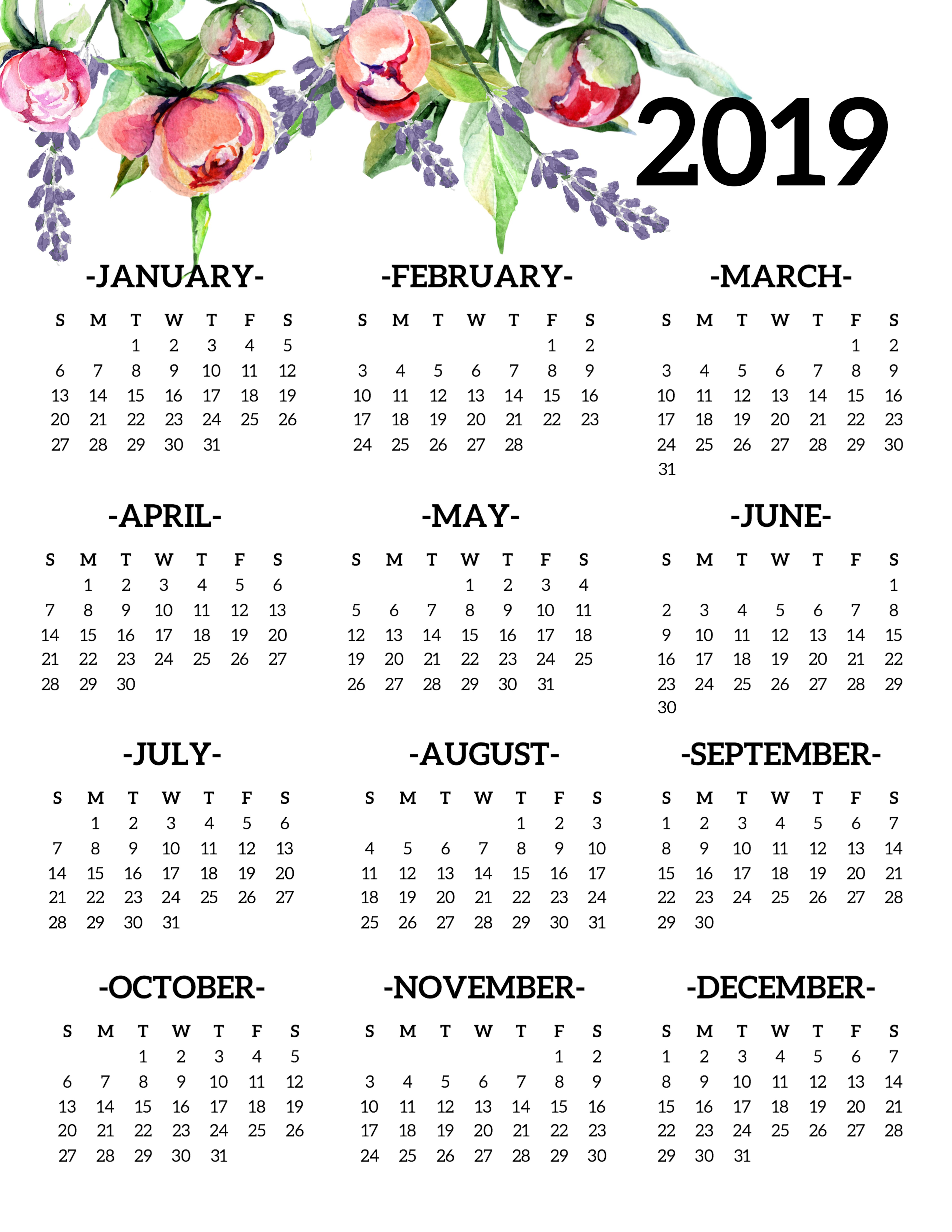 2019 Year Calendar One Page With Free Printable Yearly Floral Paper Trail Design