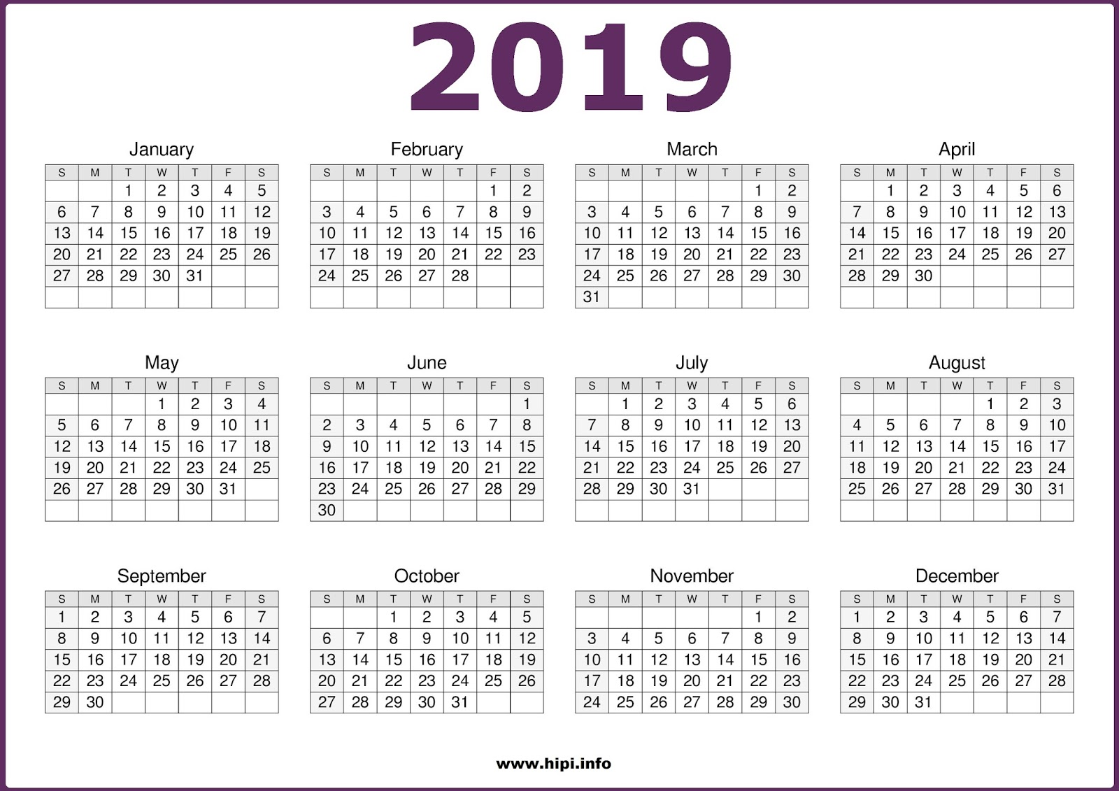 2019 Year Calendar One Page With Get Free Printable October 2018