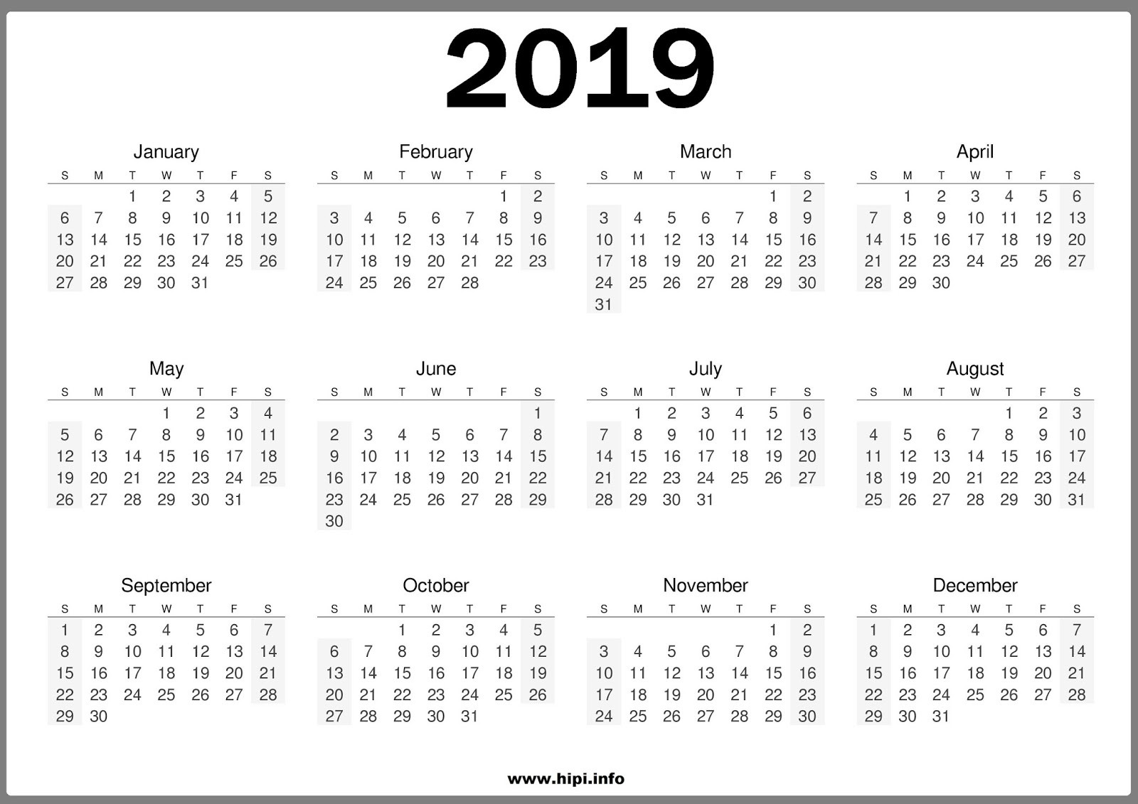 2019 Year Calendar One Page With Printable Twitter Headers Covers Wallpapers