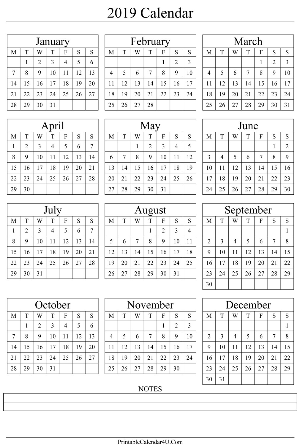 2019 Year Calendar One Page With Printable Yearly Holidays Annual