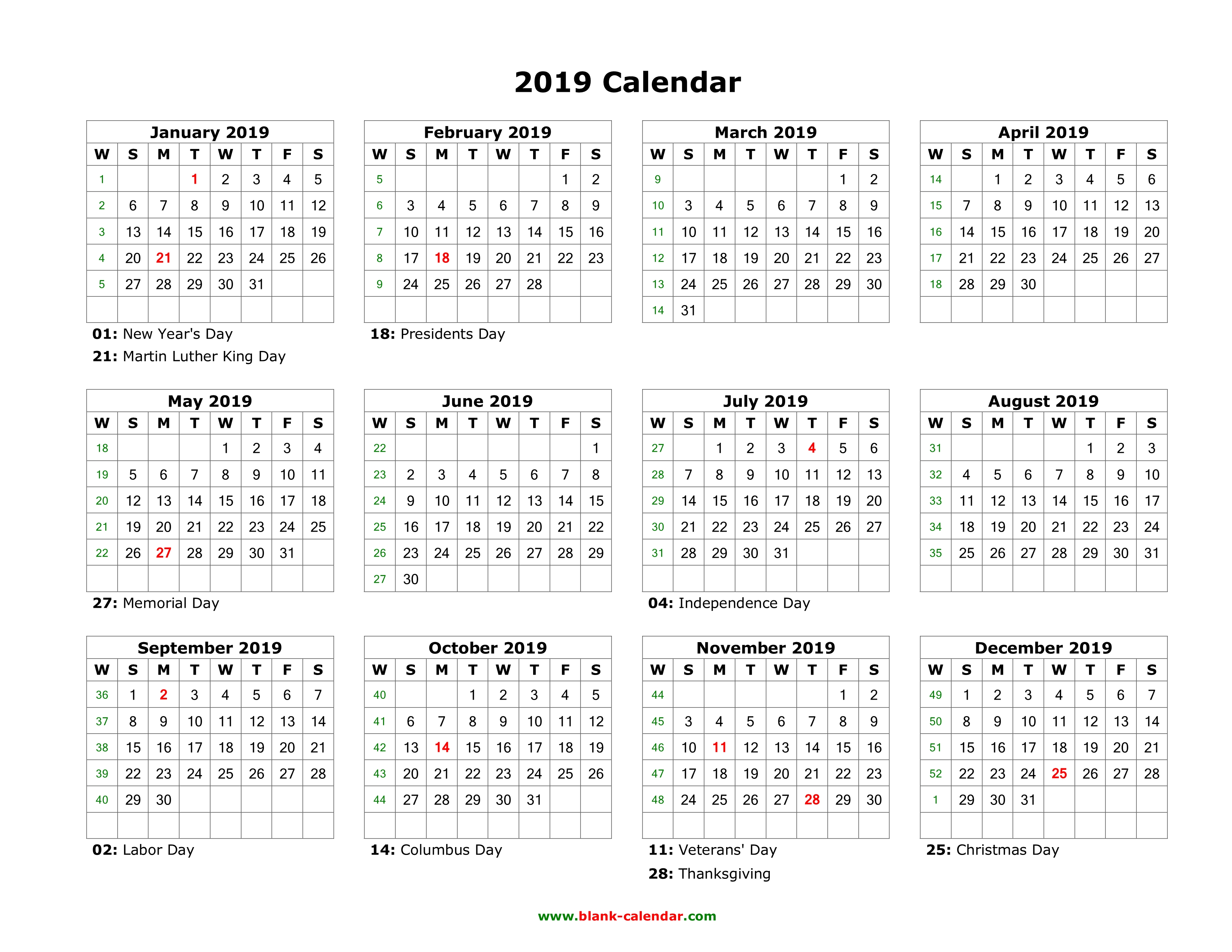 2019 Year Calendar Printable Free With Blank Download Templates