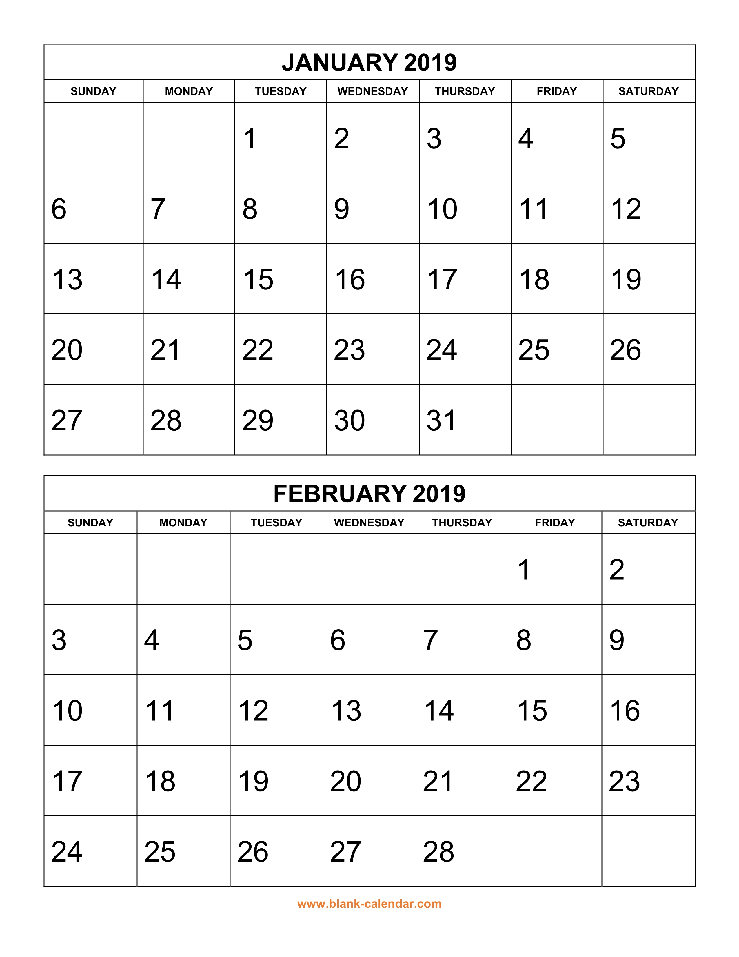 2019 Year Calendar Printable Free With Download 2 Months Per Page 6 Pages