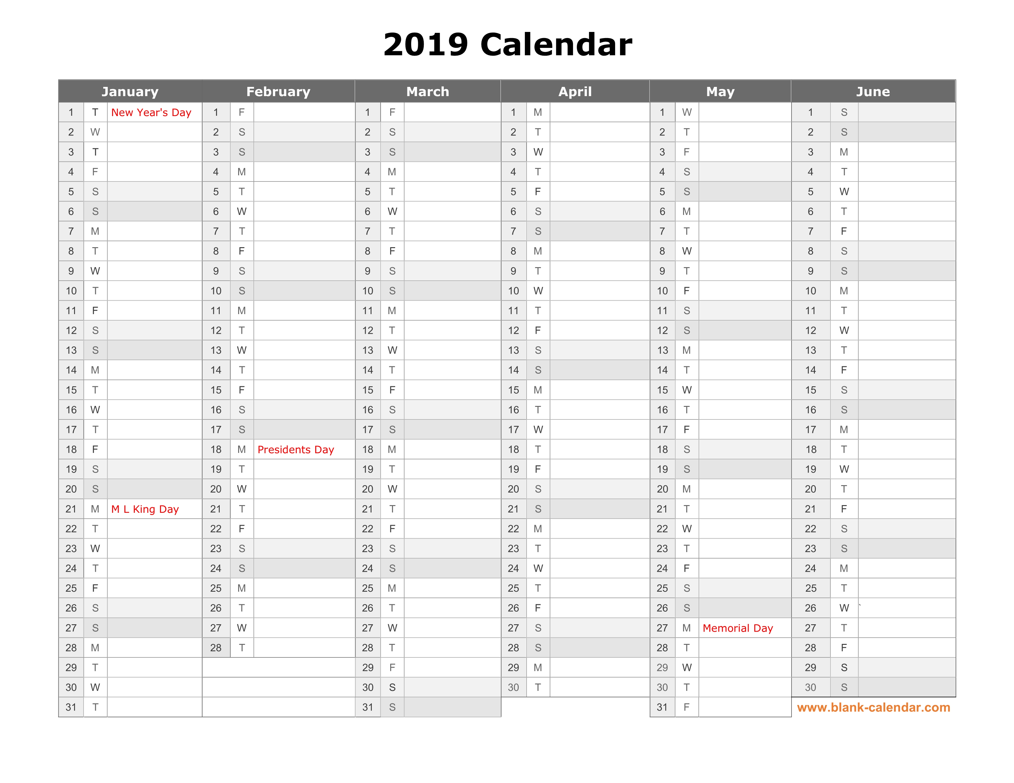 2019 Year Calendar Printable Free With Download Month In A Column Half
