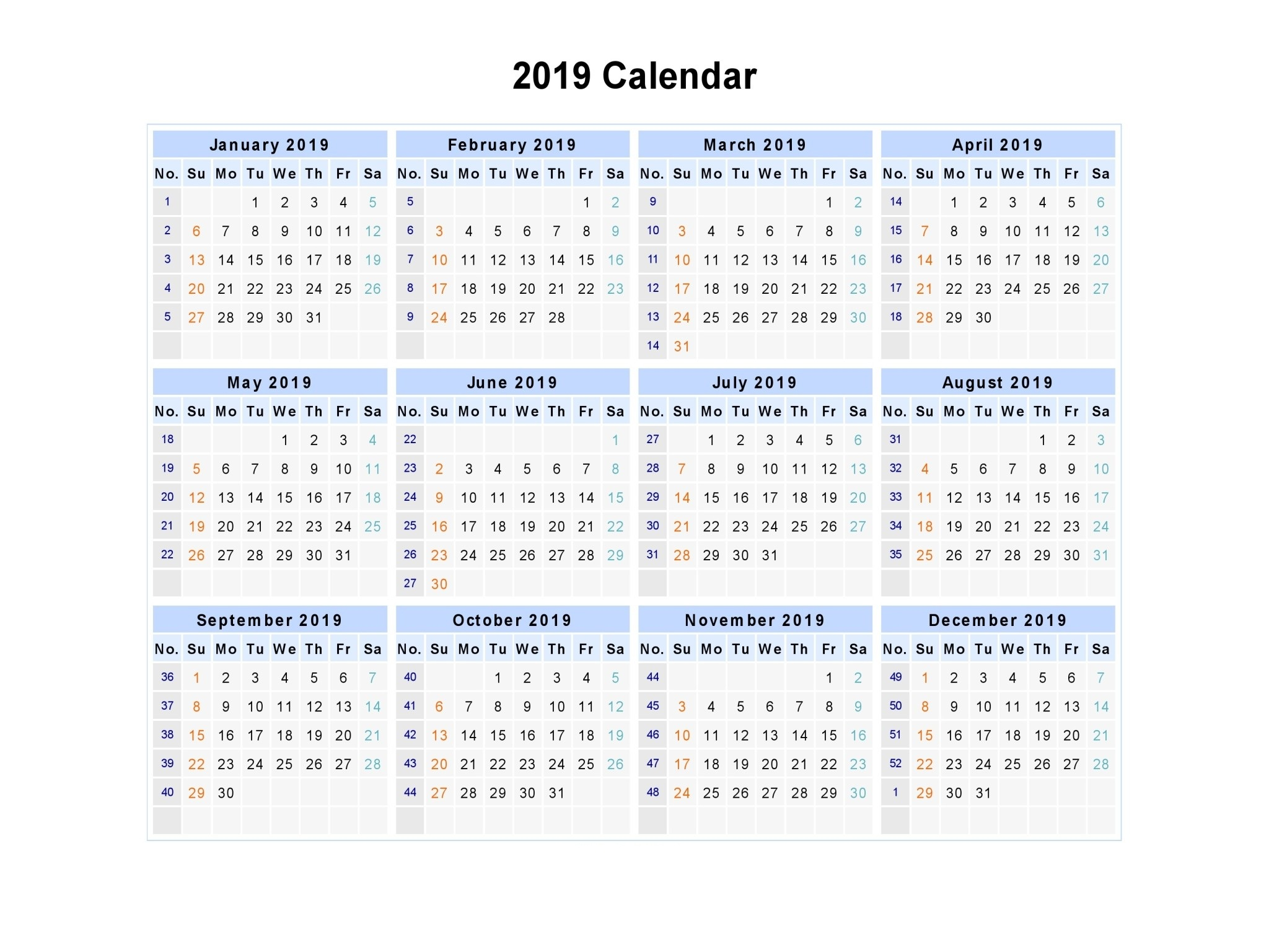 2019 Year Calendar Printable Free With Get UAE Holidays Download September 2018