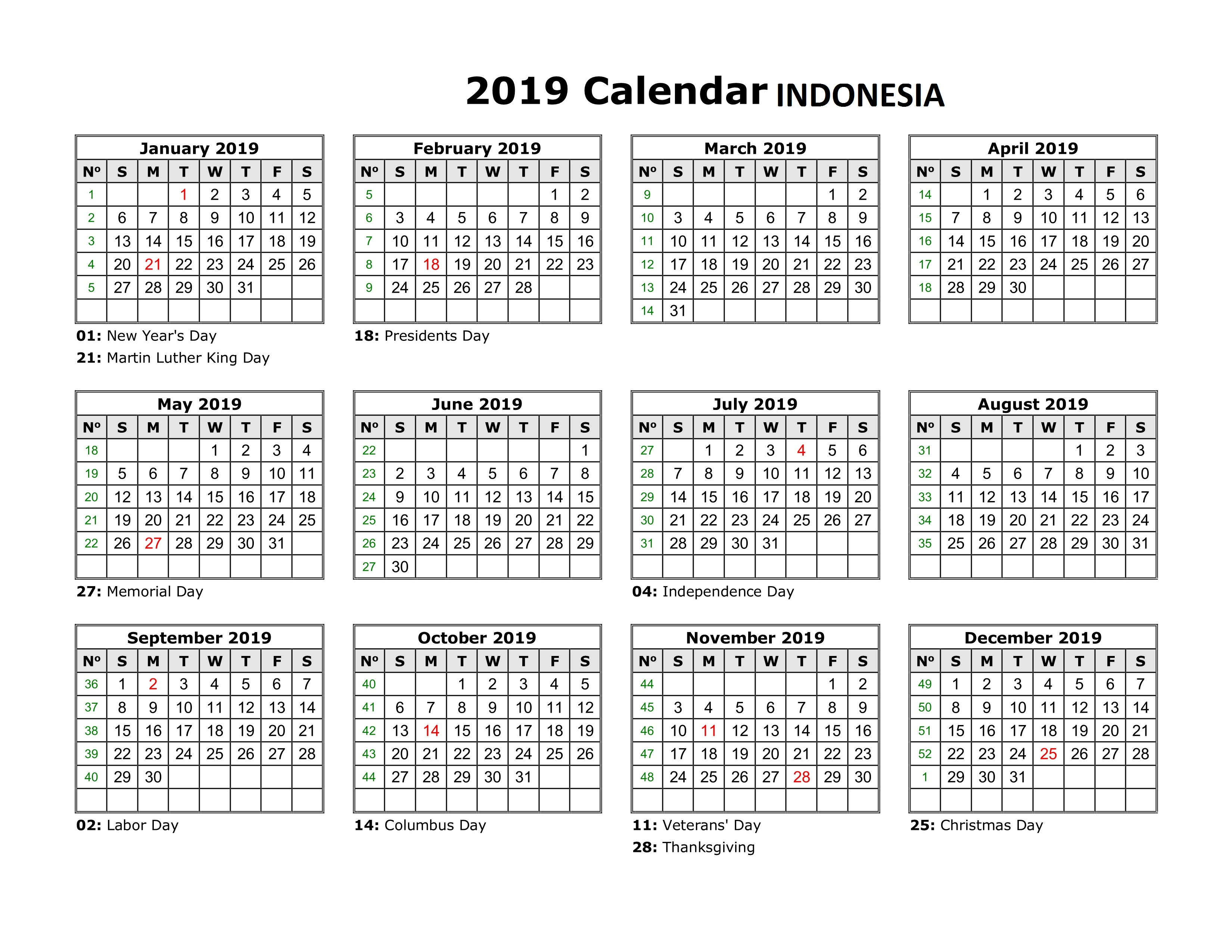 2019 Year Calendar Printable Free With Get Yearly Indonesia Holidays