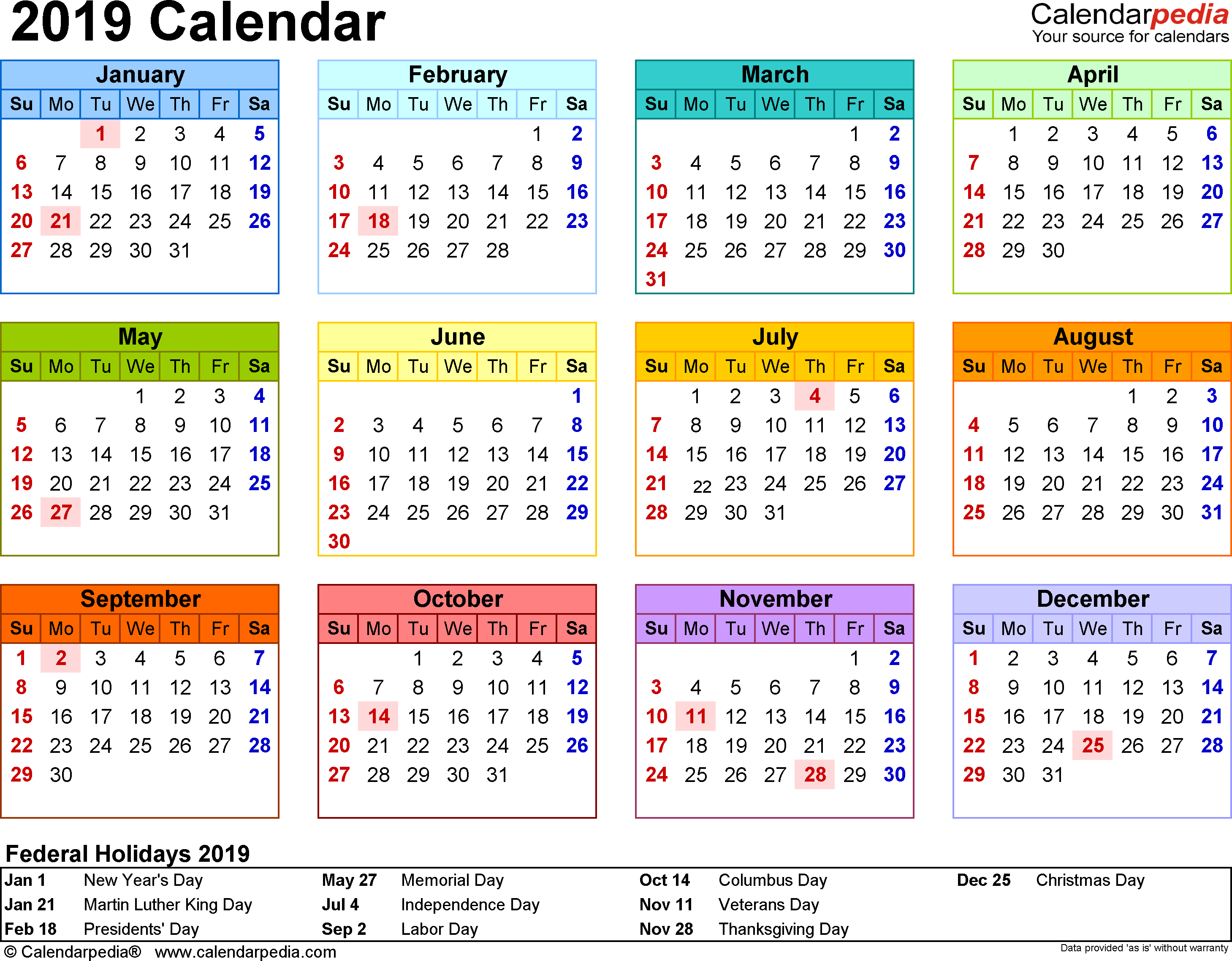 2019 Year Calendar Printable Free With PDF 17 Templates