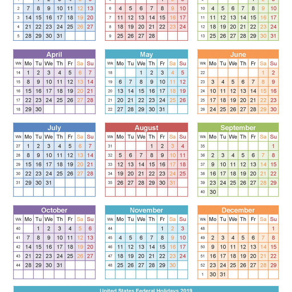 2019 Year Calendar Printable Free With Templates