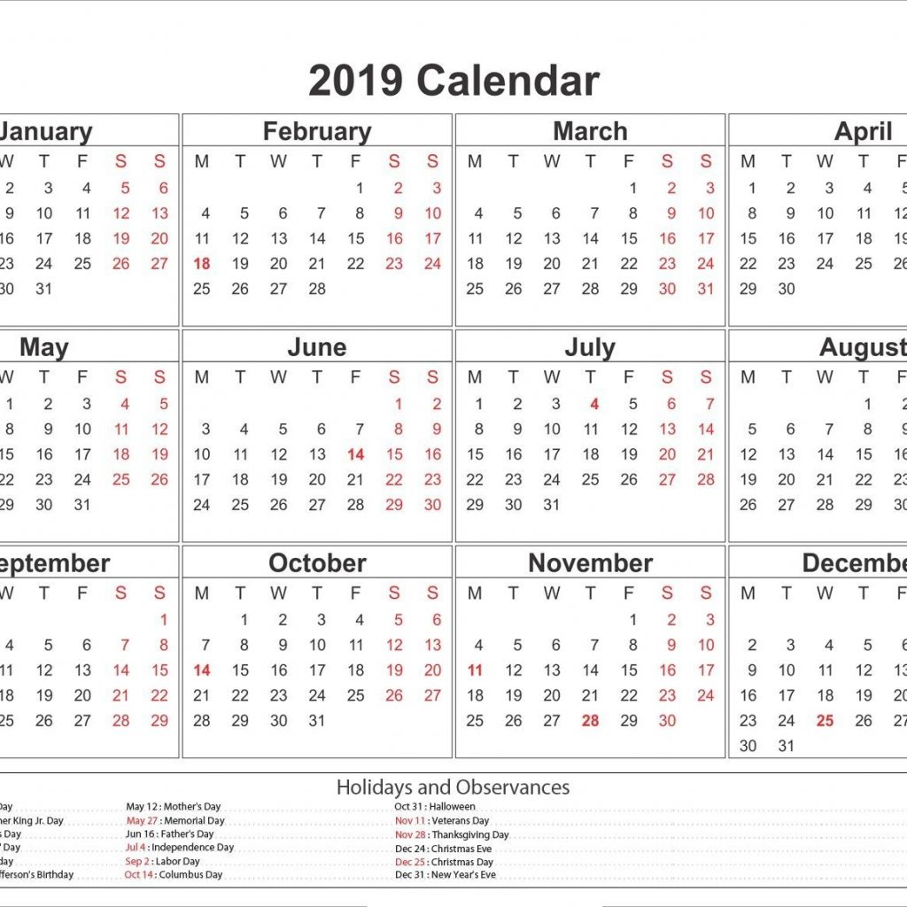 2019 Year Calendar Printable Free With Yearly Calendar2019