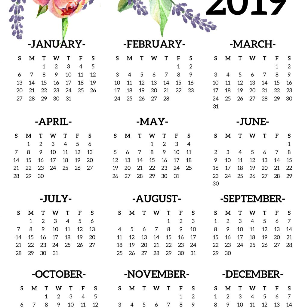 2019 Year Calendar Printable Free With Yearly One Page Floral Paper Trail Design