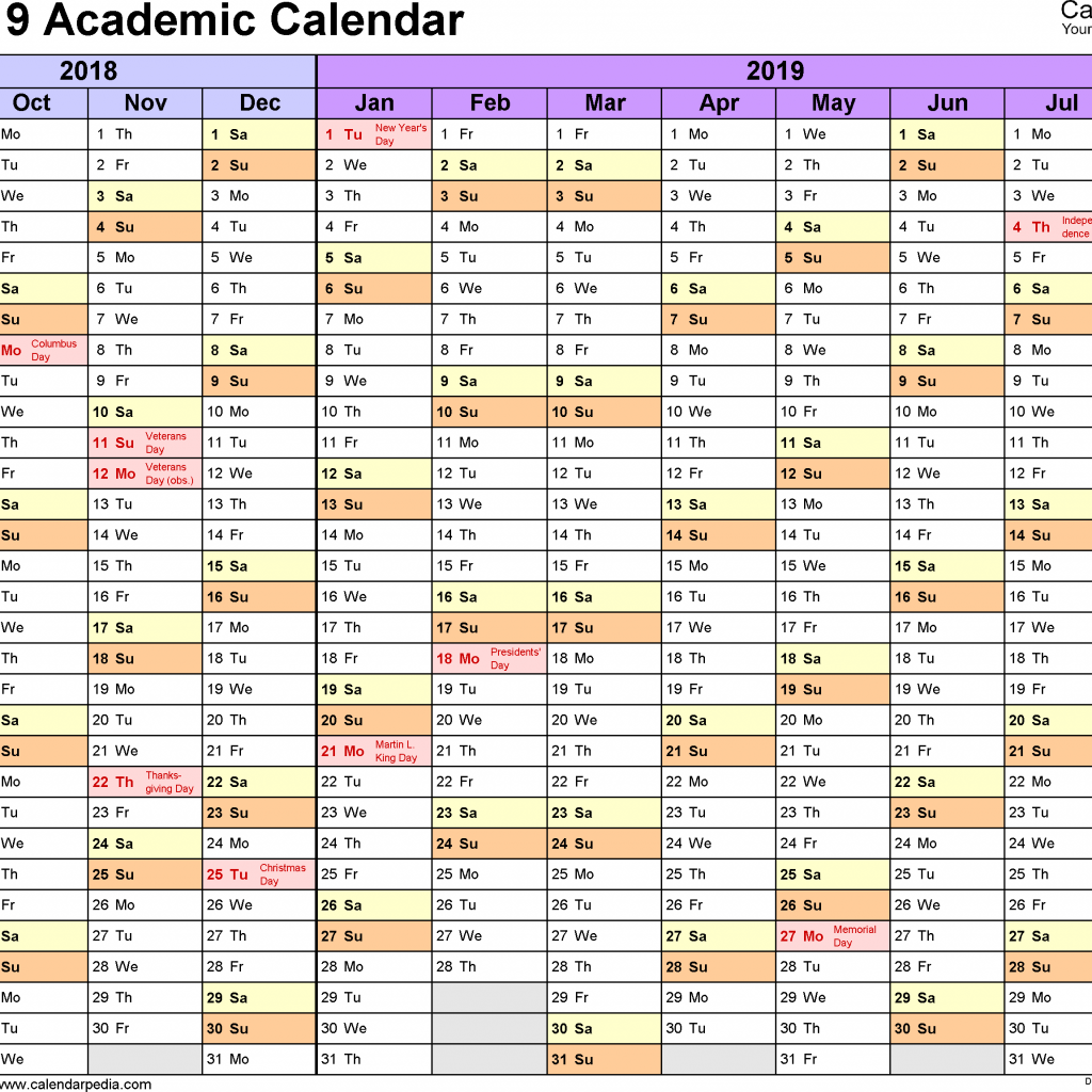 2019 Year Calendar Template Excel With Academic Calendars 2018 Free Printable Templates